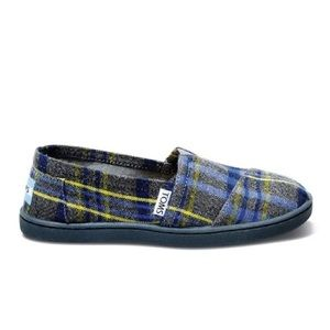Toms Blue Plaid Slip On Shoes - Toddler's Size 11